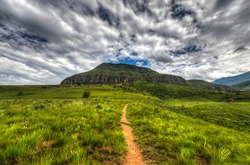 Dramatic views of the hills of the Drakensberg Range in the Giants Castle Game Reserve, KwaZulu-Natal, South Africa.