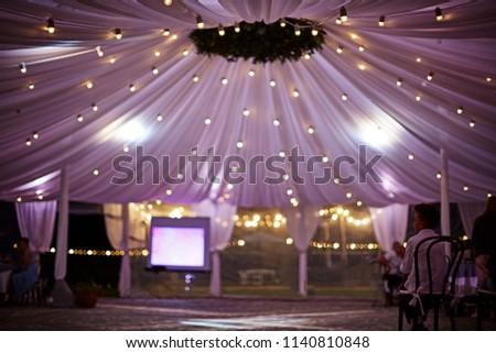 Dramatic wedding tent drapes