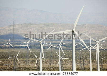 Dramatic Wind Turbine Farm in the Desert of California.