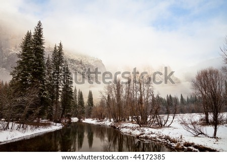 Dramatic Winter Landscape in Yosemite National Park, California.