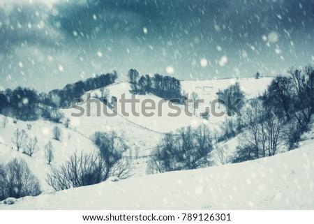 dramatic winter landscape ...