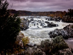 Dramatic Winter View of the Great Falls of the Potomac River