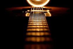 Dramatically lit guitar