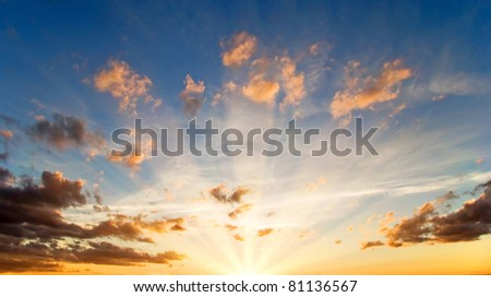 Dramatics sunset sky with clouds for background