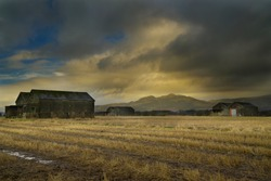 dramtic sky at the old WW2 Ammunition storage located at bandeath industrial estate, Throsk, Stirlingshire, scotland.