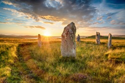 Dranatic sunset over Ceann Hulavig stone circle on the Isle of Lewis in the out Hebrides of Scotland, also known as Callanish 4