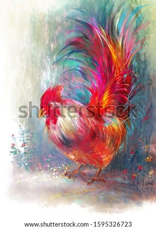 Draw digital painting red chicken illustration.