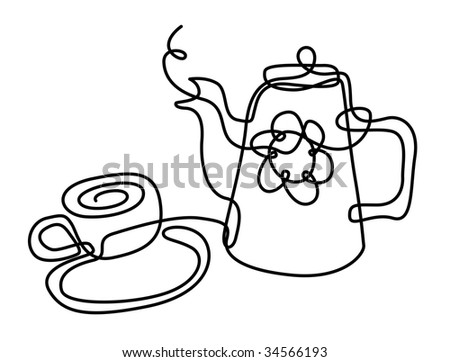 draw illustration of coffeepot and mug from solid line