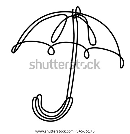draw illustration of umbrella from solid line