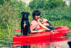 Drawa National Park - Canoeing on the Drawa River - Dog in a kayak, traveling with a dog - Poland
