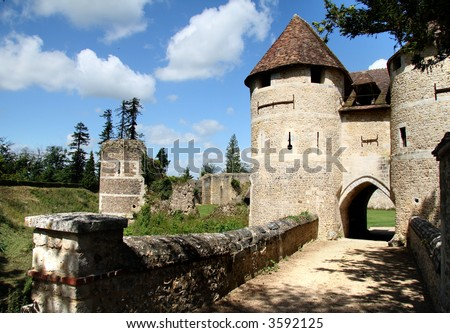 Drawbridge entrance to a Fortified Chateau in Normandy, France