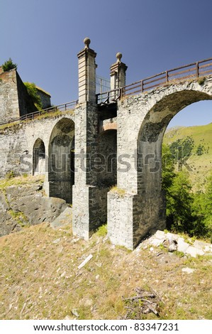 Drawbridge - Fenestrelle fort, the biggest alpine fortification in Europe, having a surface area of 1,300,000 m². Built between 1728 to 1850.