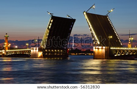 Drawbridge in St. Petersburg at night. Russia
