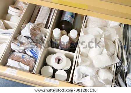 Drawer of medical supplies