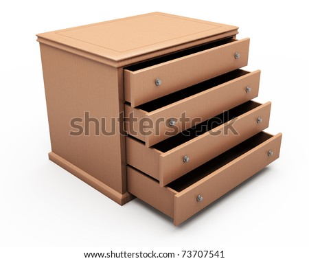 drawer table isolated over white background with slight shadow