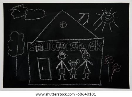 Drawing a chalk on a school board