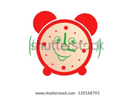 drawing a red alarm. cartoon character. isolated on white background