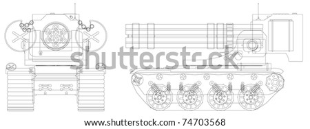 Drawing a self-propelled heavy machine gun - illustration