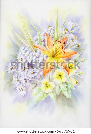 Drawing a water colour on a paper: summer bouquet with a lily