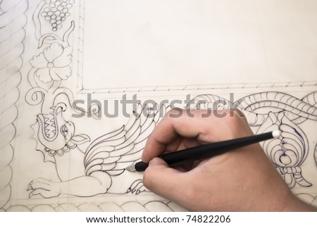 drawing Ancient type fresco of Saint George killing the drake,close up