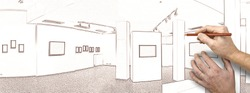 Drawing and planned exhibition gallery, wall mounted art with museum style lighting, the art has been removed and replaced. There are path for the frame