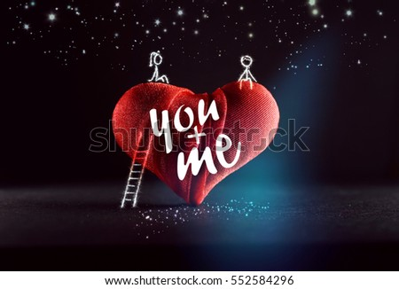 Drawing boy girl sitting on big heart with stairway under starry sky at night on dark background and inscription you + me. The concept for wedding, Valentine's Day, birthday. Romantic artistic image.