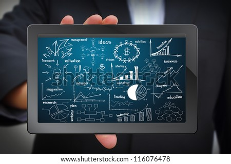 drawing business plan concept With Hand holding computer tablet pc