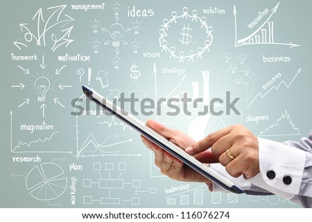 drawing business plan concept With touch screen computer tablet pc