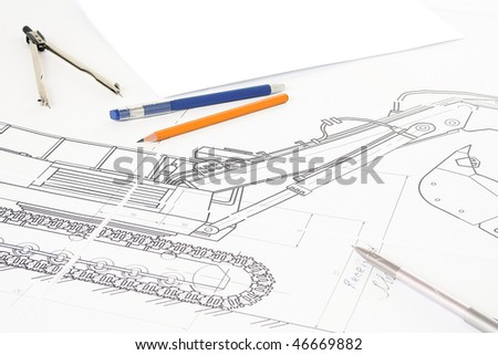 Drawing, compasses, picture and pencil