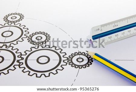 Drawing design cogs. - stock photo