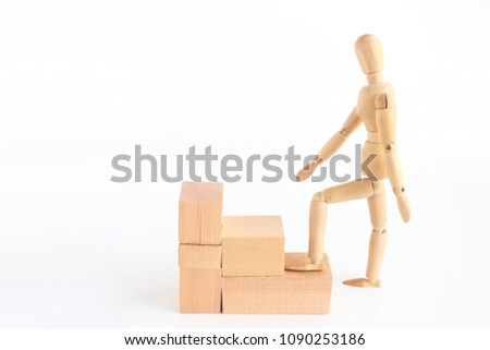 Drawing doll that steps up stairs #1090253186