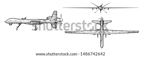 Drawing Drone, Unmanned military aircraft isolated on white background, 3D Render