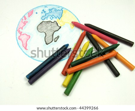 Drawing earth globe with color chalks