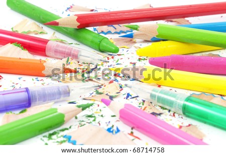Drawing equipment for children in school.Colorful pencils,crayons and black lead pencils.