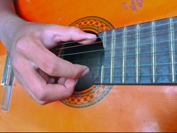 drawing fingers plucking guitar strings