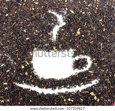 Drawing from the dry tea leaves. The photo on white background