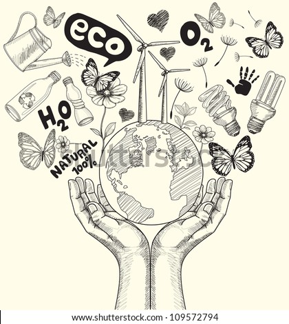 Drawing Green world concept. Tree on the earth in hands. - stock photo