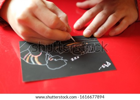 Drawing hands, drawing scratch paper