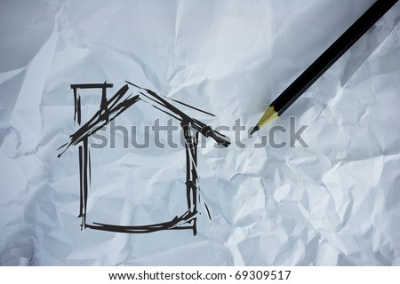 Drawing home Dream - stock photo