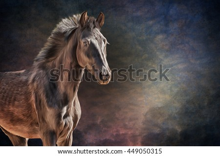 Drawing horse portrait oil painting on old vintage color grunge paper background