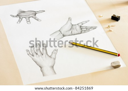 Drawing Human Hands with Pencil, Eraser and Sharpener