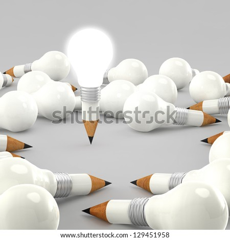 drawing idea pencil and light bulb concept creative