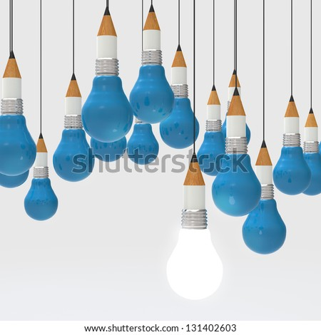 drawing idea pencil and light bulb concept creative and leadership as concept