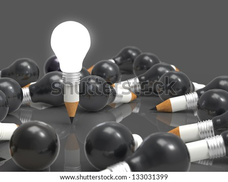 drawing idea pencil and light bulb concept creative and leadership concept