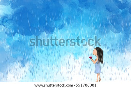 drawing illustration of lonely girl holding heart making wish in raining sky. Idea of valentine, hurt, sad, love, art, relationship. Graphic template wallpaper background.