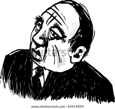 Drawing Illustration of Old Gangster Caricature