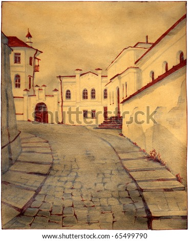 Drawing in pencil and red ink on old paper. Ancient houses in the Pechersk Lavra. Kiev, Ukraine