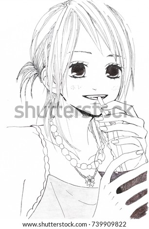 Stock Photo Drawing in the style of anime. Picture of a girl in the picture in the style of Japanese anime
