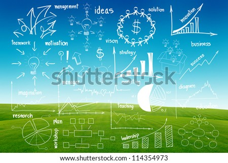 Drawing infographics elements graphics and diagrams, on blue sky and green grass background