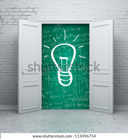 drawing lamp on school board in door